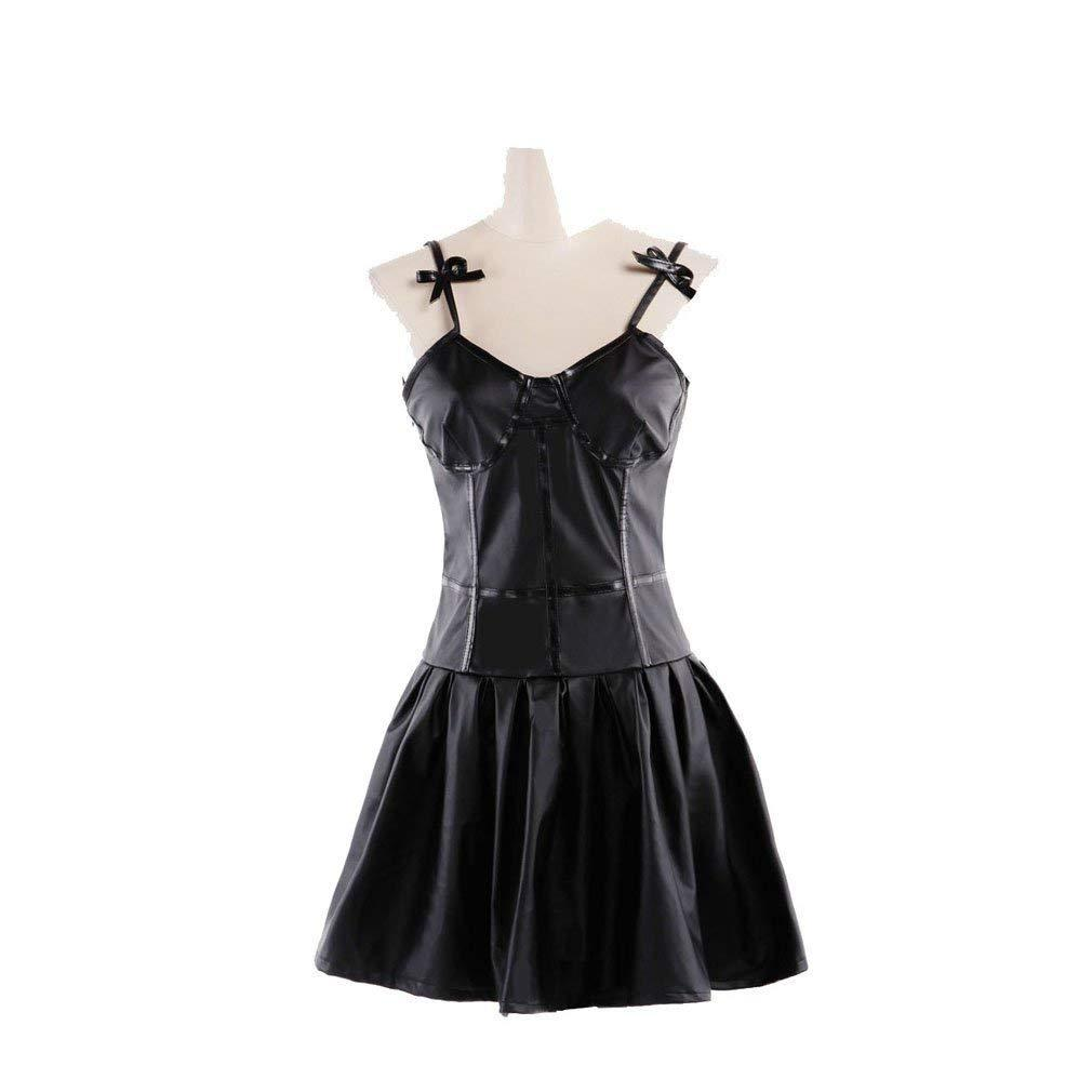 Hot !Future Diary//Mirai Nikki Gasai Yuno Black PU Dress Cosplay Costume Unisex
