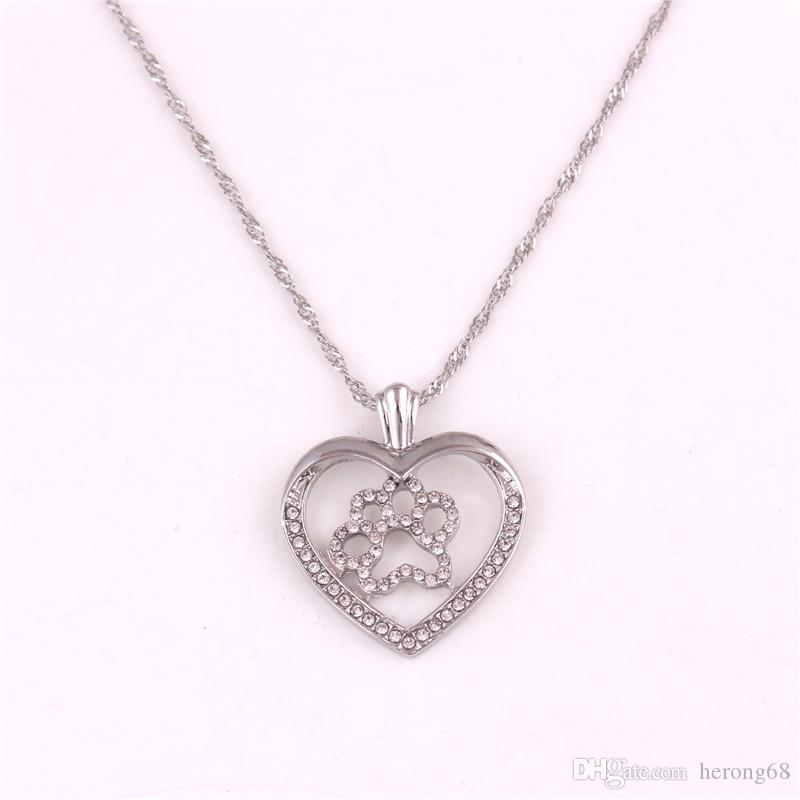 Beautiful Jewelry Women Necklace Heart Shape Cat Paw Print Pendant Design Suitable Birthday Gift Zinc Alloy Provide Dropshipping