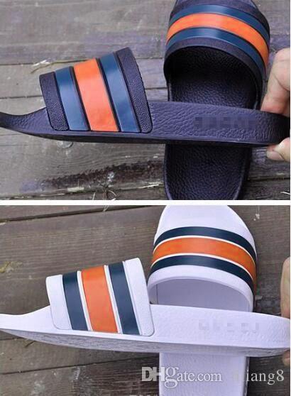 Fond épais anti - slip homme confortable et simple pantoufles un mot glisser trois barres à la mode chaussures de loisirs hommes chaussures à rayures 40-45 n80