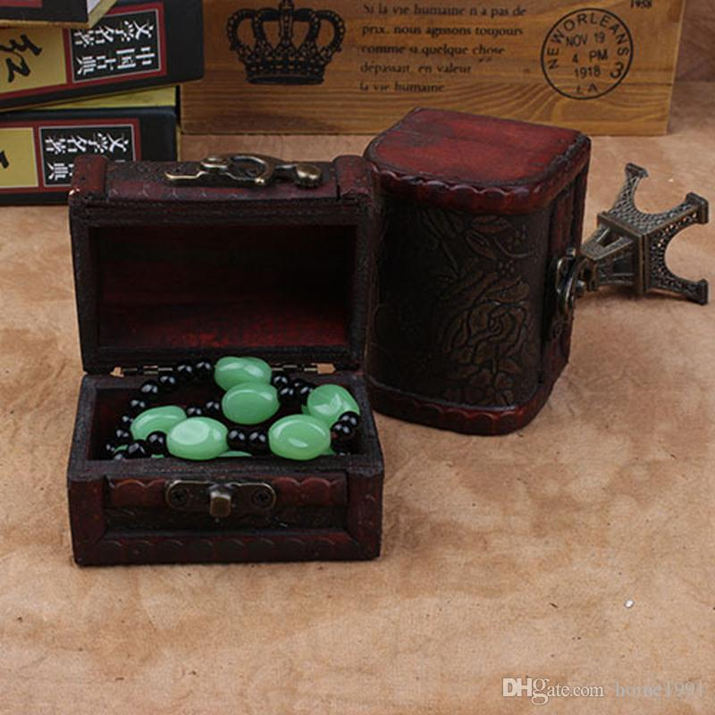 New Antique Small Box Storage Box Retro Wooden Box Candy Boxes Jewelry Pearl Bracelet Necklace Storage Organizer Wooden Case