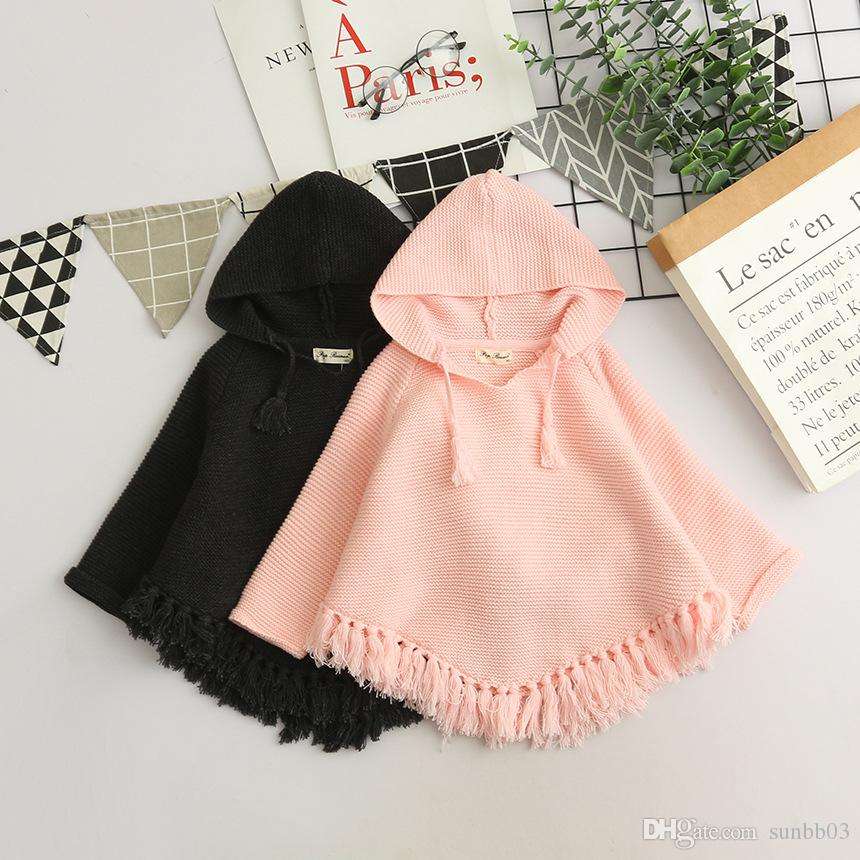 2018 Autumn Baby Girls Poncho Sweater Kids Hooded Knitted Pullovers Tops Children Knitwear Tassels Sweaters Pink Black 14059