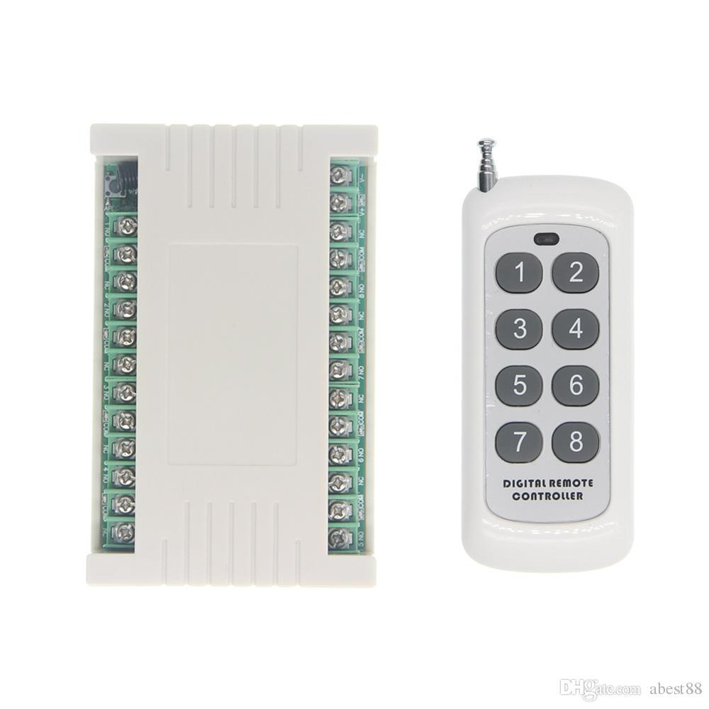 Interruptor de luz LED de control remoto inalámbrico de 500 m 8CH 8 CH Transmisor de radio de salida de CC 12V 24V y receptor de 315/433 MHz