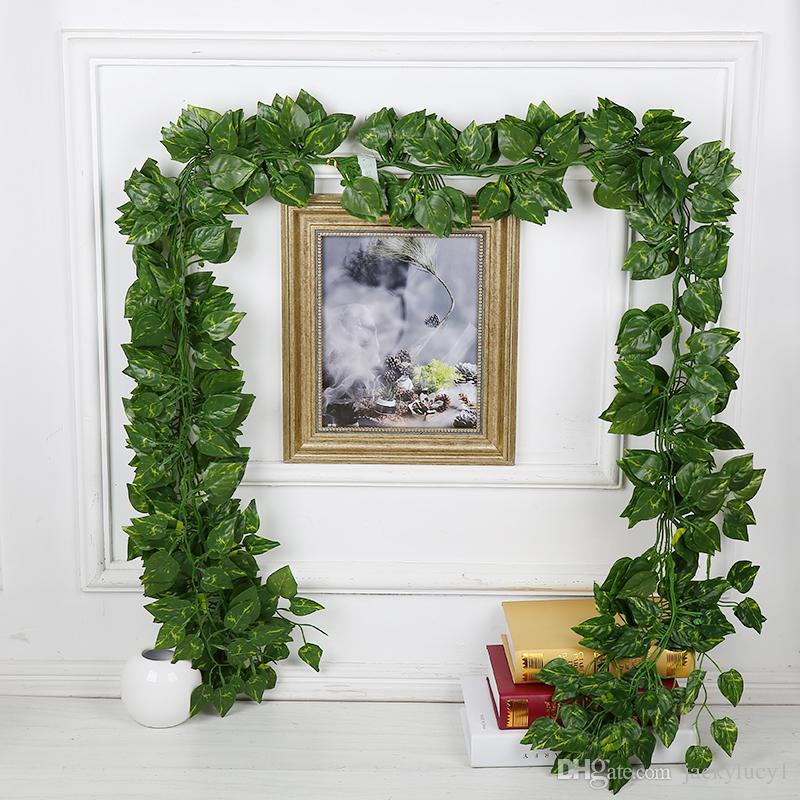 Neue künstliche Efeu Blatt Girlande Pflanzen Pflanzen Vine Gefälschte Laub Blumen Wohnkultur Kunststoff Künstliche Blume Rattan Evergreen Cirrus