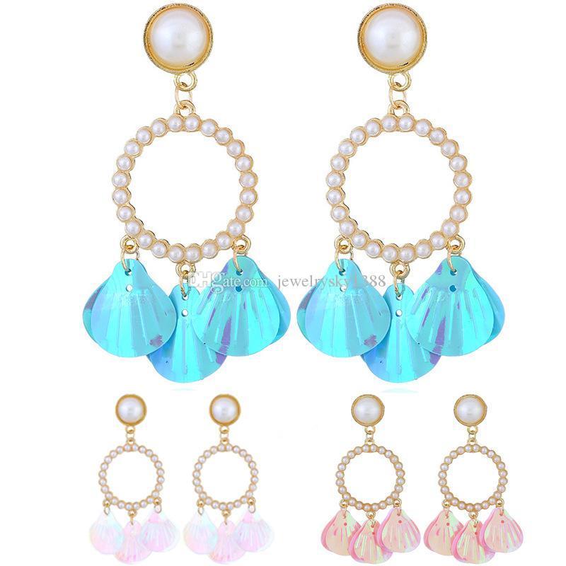 Paillettes moda paillettes Shell Statement Orecchini a cerchio Donne perla nappa Stud Ear Charms Gioielli Drop shipping