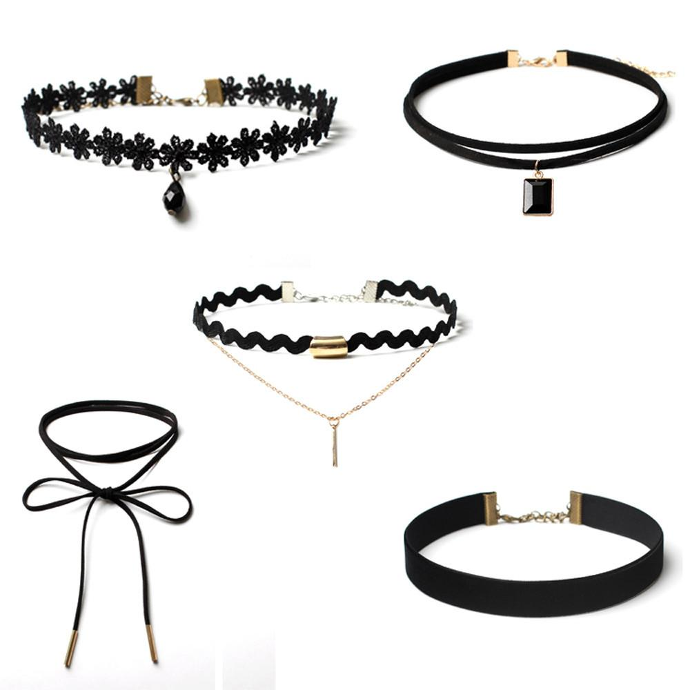 5 Pieces Choker Necklace Set Stretch Velvet Classic Gothic Tattoo Lace Choker Fashionable and beuatiful party or banquet D18111201