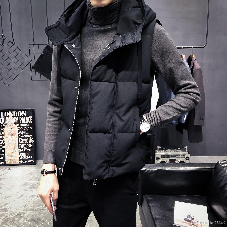 nouvelle veste à capuchon en coton chaud vers le bas la jeunesse d'hiver décoration d'hiver veste version coréenne des manches gilet mâle
