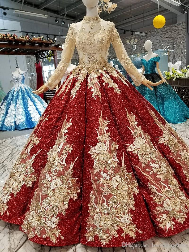 großhandel shiny burgund abendkleid 2019 langarm stehkragen golden flowers  weinrot ballkleid muslimische frauen kleider klassischen stil abendkleid