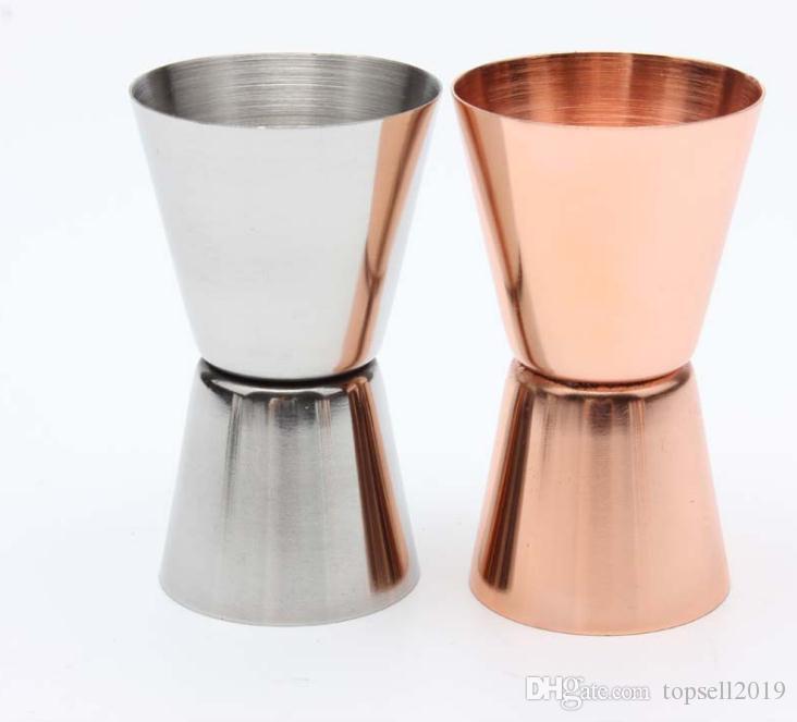 15-30 мл из нержавеющей стали Джиггер один двойной выстрел коктейль вино короткие измерения чашки напиток бар аксессуары для вечеринок розовое золото и серебро SN1235