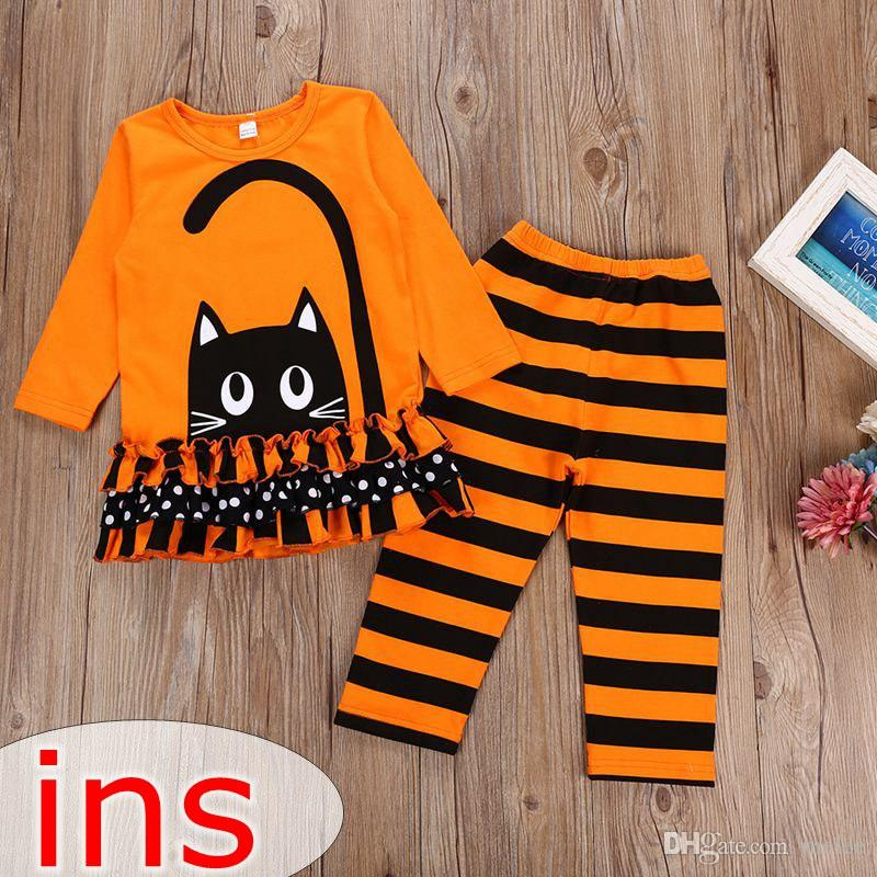 Various Styles Boutique Girls Halloween Ruffles Top Pants Outfit Set
