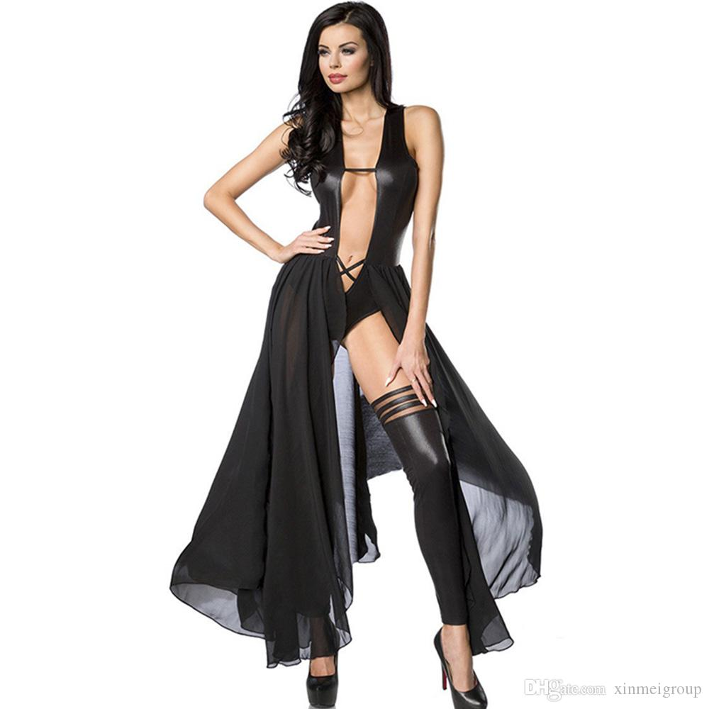 Women Sexy Lingerie Hot Lace Babydoll Deep V Neck Teddy Lady Long Dresses Sexy Backless Exotic Lingerie Dress W870575