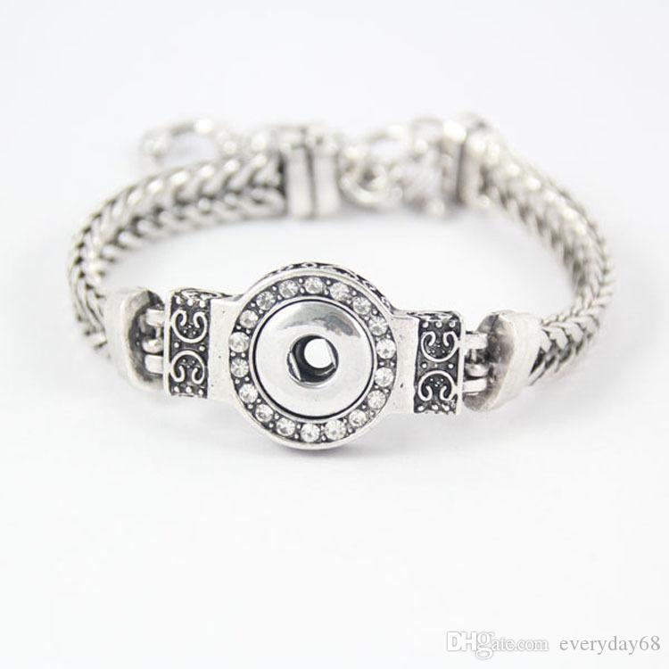 Diy نوسا قطع كريستال أساور الفضة مطلي للتبادل 12 ملليمتر المفاجئة أزرار المقاوم للصدأ مجوهرات النساء أزياء سوار DCBJ237