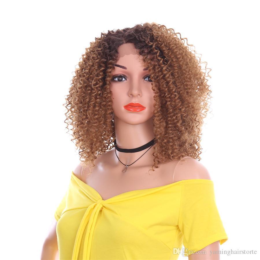 14 인치 레이스 프런트 가발 아프리카 킨키 곱슬 가발 사이드 부분 아프리카 여성을위한 자연 Ombre 합성 머리 유행 패션 헤어 가발