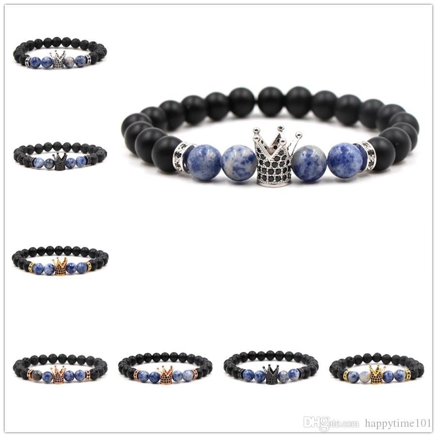8 Opzioni 10 MM Zircon Crown Black Lava Stone Beads Bracciale Diffusore di Olio Essenziale Equilibrio Yoga Pulseira Feminina Buddha Jewelry