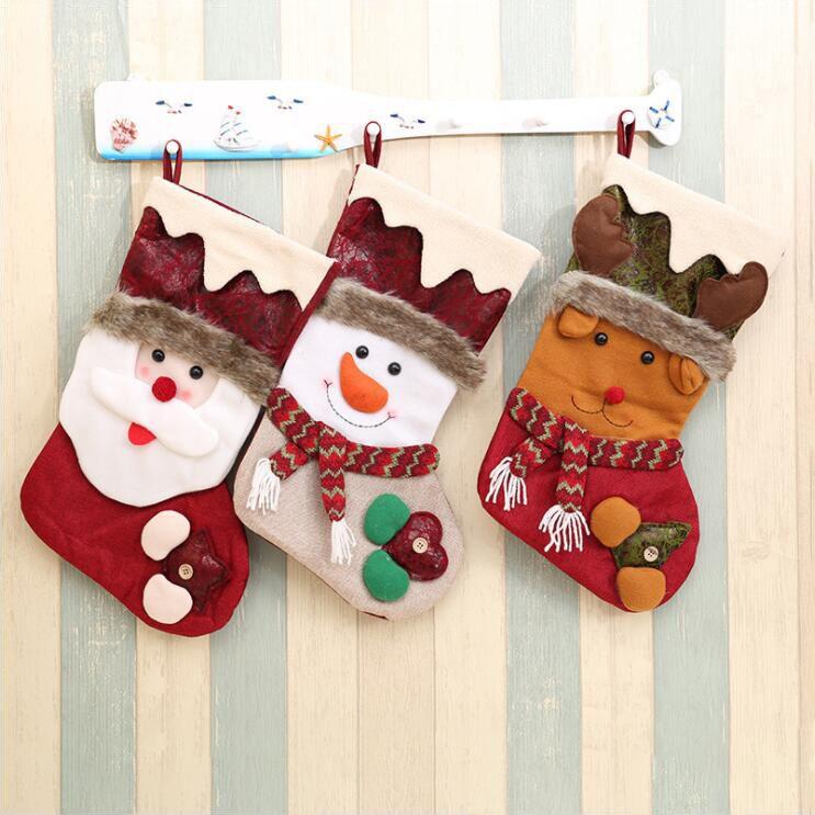 Yeni Çocuk Noel Partisi Hediye Çorap Çanta Evi Mağaza Noel Ağacı Kısa Peluş Karikatür Noel Baba Kardan Adam Elk Çorap Dekorasyon