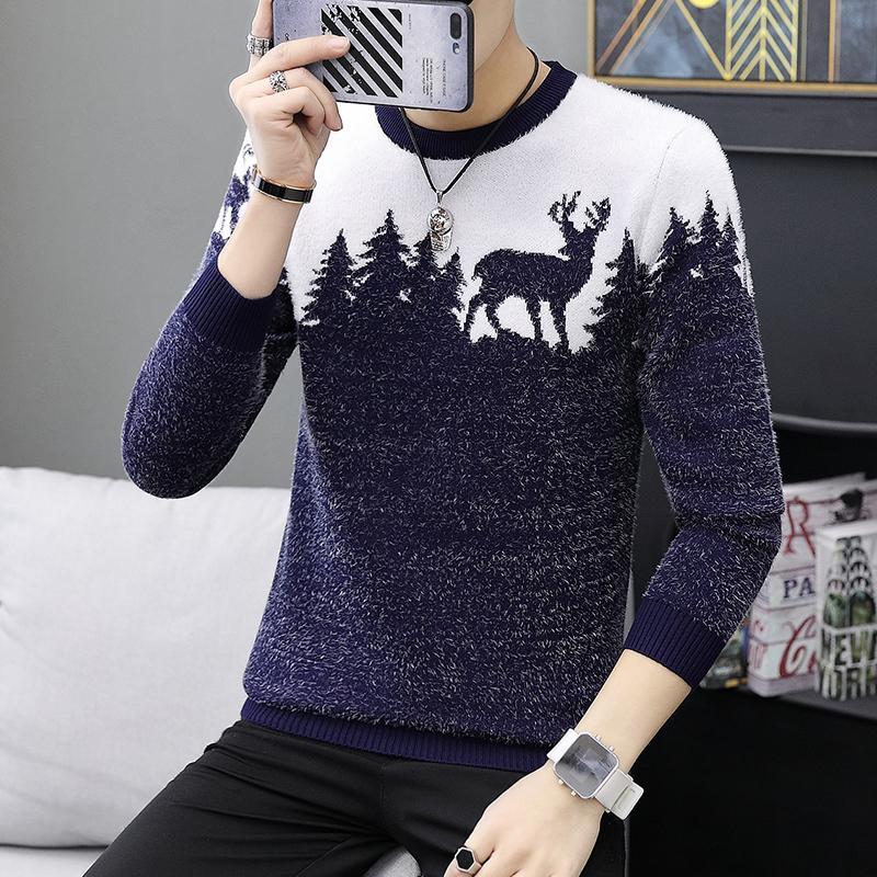 LENSTID 9 Estilos 2018 Otoño Invierno Nuevo Suéter Casual Hombres Patrón de Punto Jerseys Moda Slim Fit Regalo de Navidad Hombre 6616 # L18100803