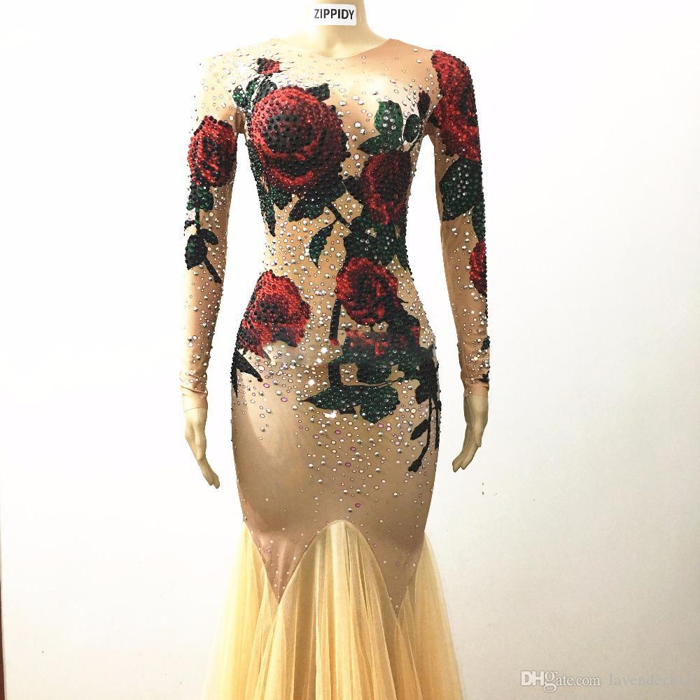 großhandel multicolor steine rosen blumen lange kleid bühne tragen nude  stretch kleid frauen sänger rot grün strass mash abend outfit von