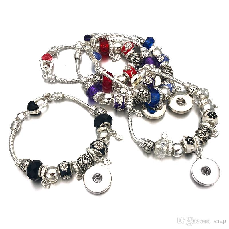 Fashion Silver Crystal Bead Glass Link Pulsera 328 18mm Snap Button Charm Bangle Jewelry Para Mujeres Adolescentes Regalo