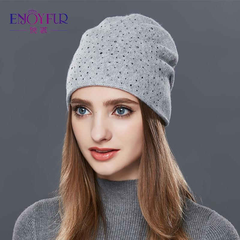 ENJOYFUR Cashmere Knitted Hat Female Warm Wool Winter Hats Women's Rhinestones Skullies Beanies Girl Thick Gravity Falls Cap D18110102