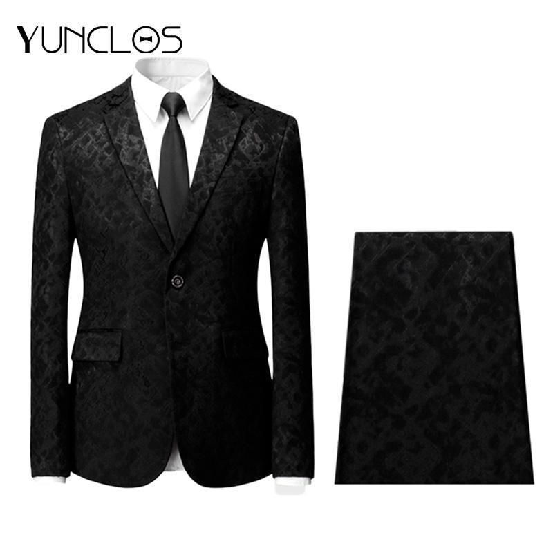 YUNCLOS 2 ADET Jakarlı erkek Takımları Tek Breasted Ceket ve Pantolon Tuexdos Casual Slim fit Erkekler Suit Düğün Parti Elbise