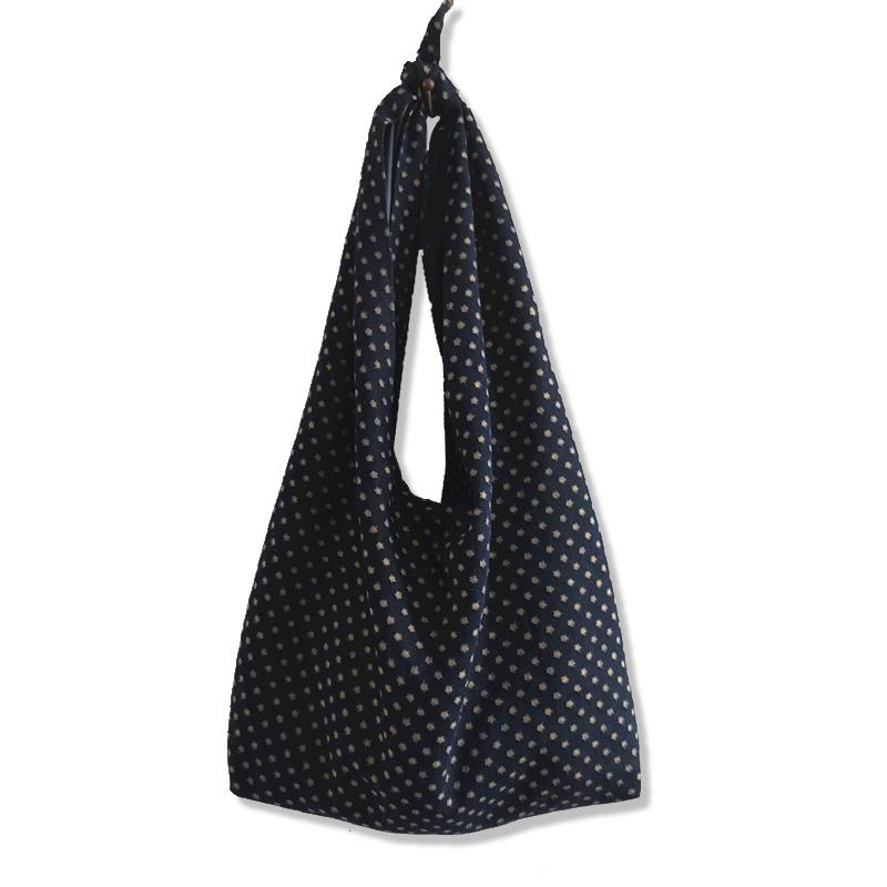 Fresh Dark Blue Women Denim Large Tote Bag Unique Knotted Bags Shoulder Bag High Quality Ladies Big Travel Handbag Japan Style