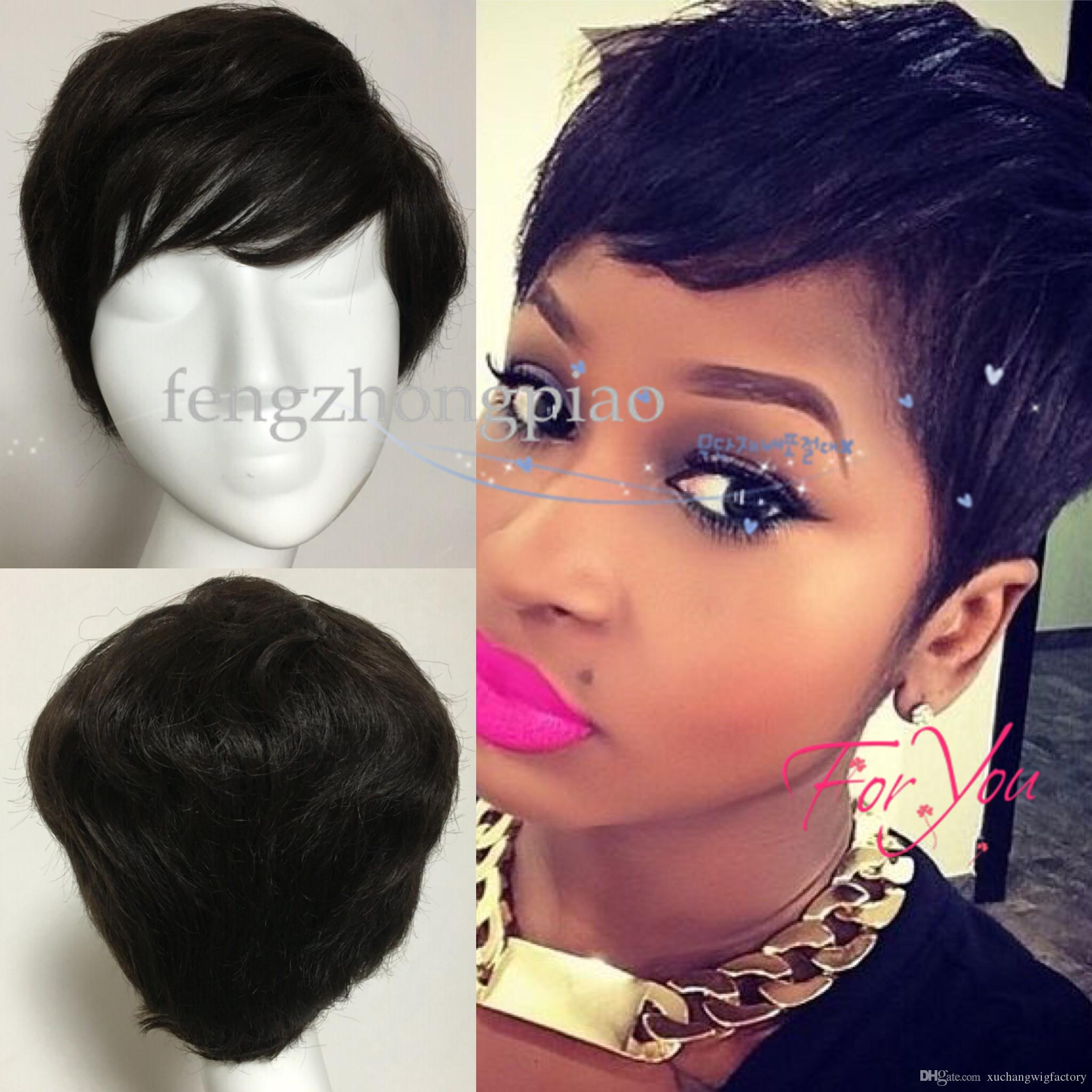 Black Pixie Cut Human Hair Wigs half-price hairstyles Full wigs short hair Brazilian virgin human hair wigs for black women