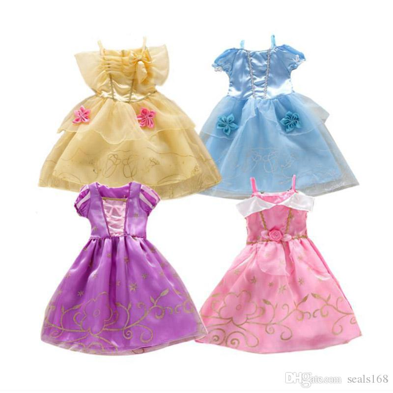 Girls Costume Party Dresses Puff Sleeve Dress up Costume Sleeping Beauty Princess Dress 4 Designs PX-D04