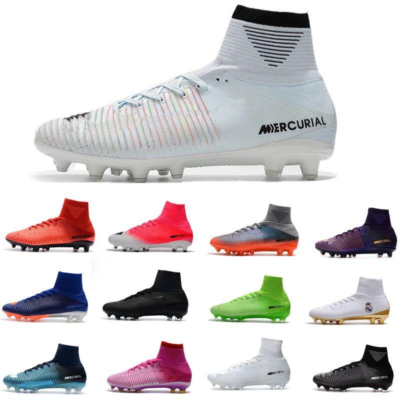 2018 청소년 남성 축구 신발 Crampons 드 CR7 어린이 축구 클리트 어 s 신 레트로 chaussures FG 스파이크 AG Mercurial Ronaldo 3 디자이너 부츠