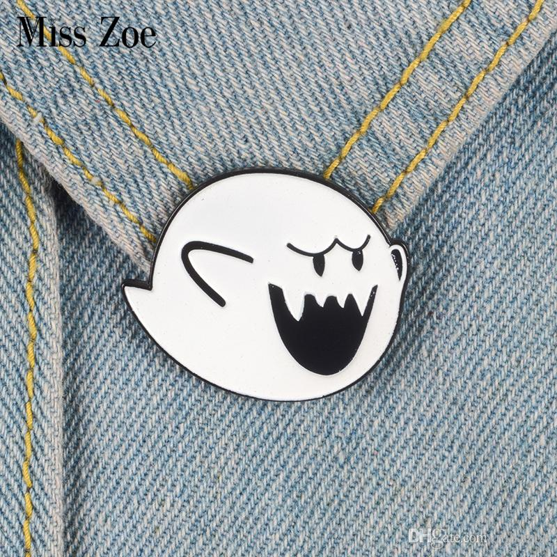 Miss Zoe Boo Ghost Enamel pin Super Mario brooch Bag Clothes Lapel Pin Button Badge Cartoon Classic Video game Jewelry Gift for friends