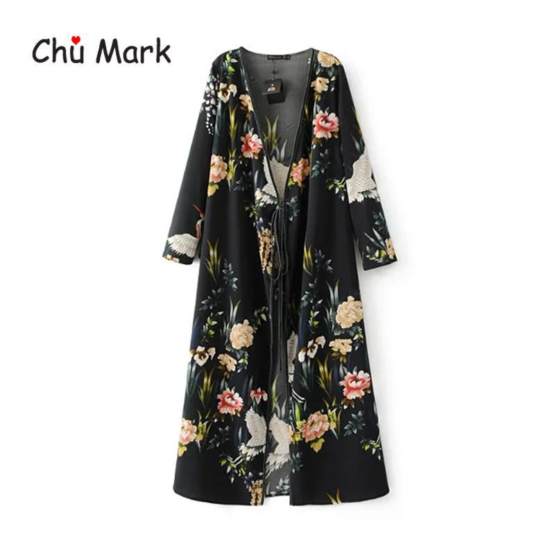 Chu Mark kadınlar bahar bluzlar uzun kollu çiçek baskı açık dikiş kimono kadın artı boyutu gömlek kadın hırka 904101