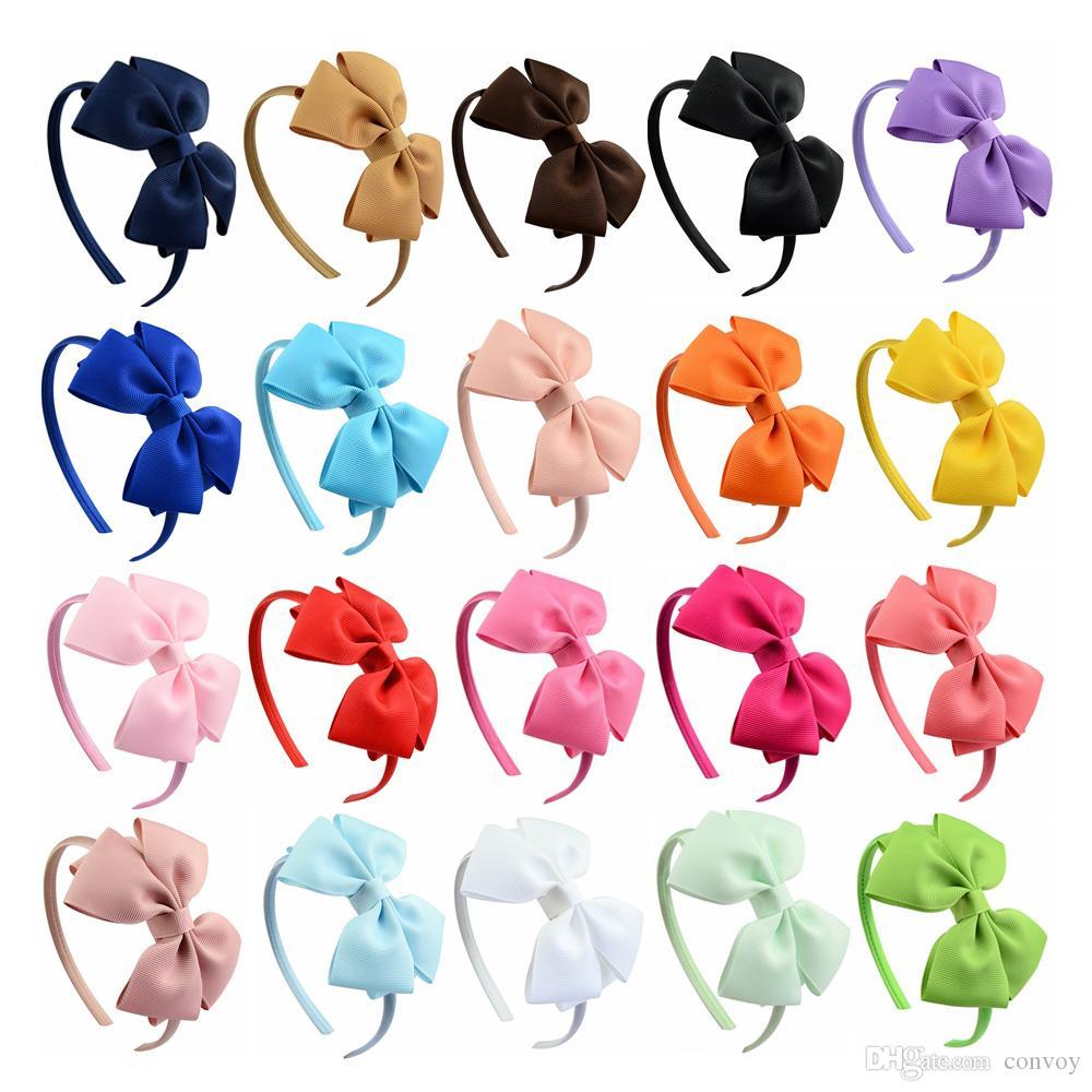 طفل الفتيات 4 بوصة الشعر العصي الشريط bowknot hairbands الأميرة بوتيك grosgrain اكسسوارات للشعر فتاة البلاستيك هيرباند مع الأقواس KFG05