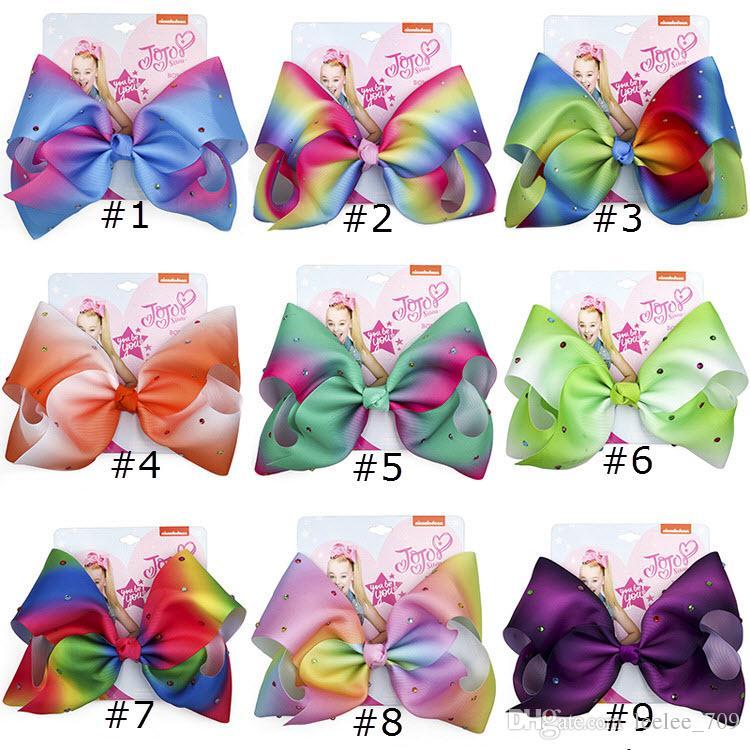 8 Inch Jojo Siwa Hair Bow Solid Color With Clips Papercard Metal Logo Girls Giant Rainbow Rhinestone Hair Accessories Colorful Rhinestone
