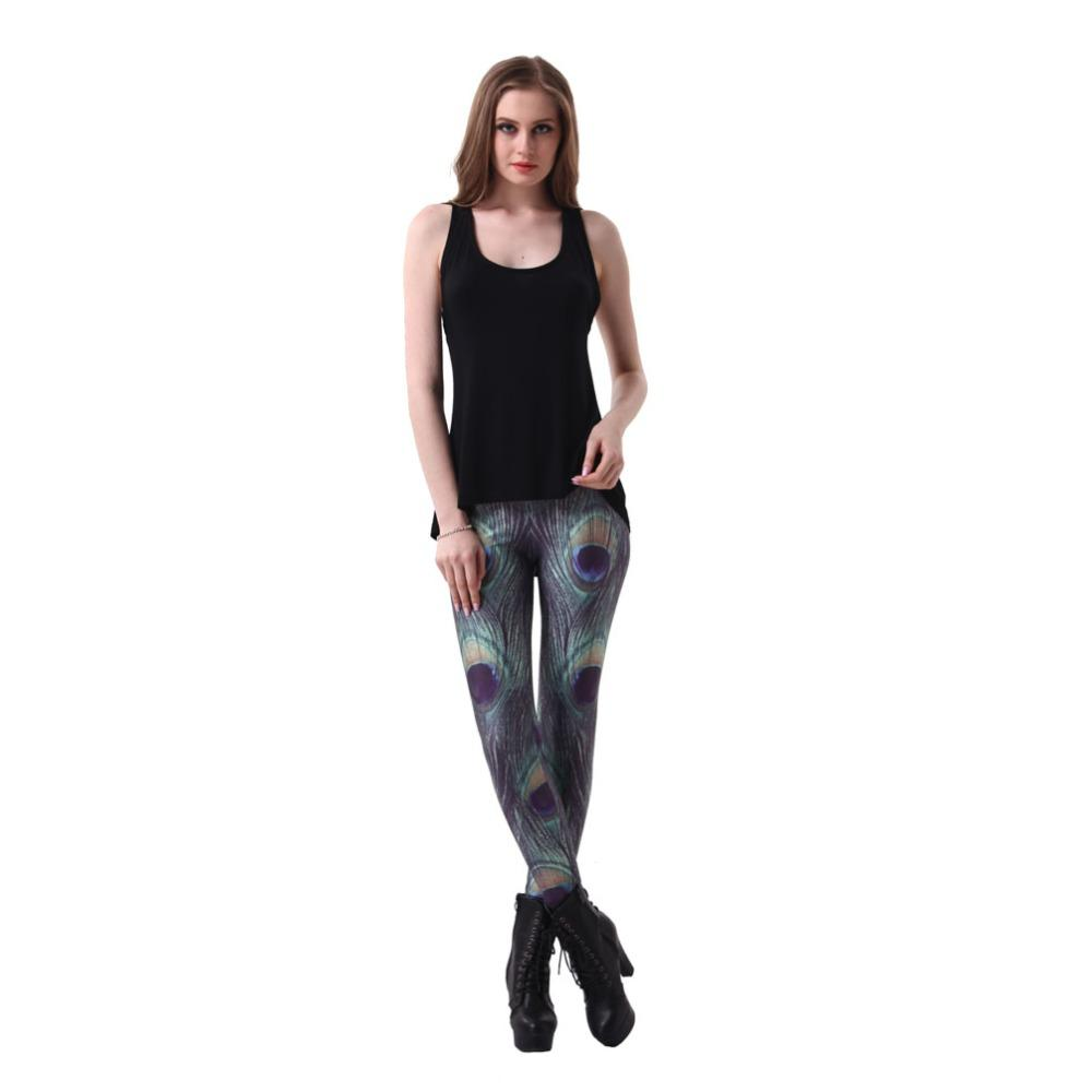 Drucken Elastische Hosen 3D Digital Frei Größen Feder Leggings Frauen Versand Kleidung Pfau Fitness 7 Sexy Muster Großhandel Xmbmm