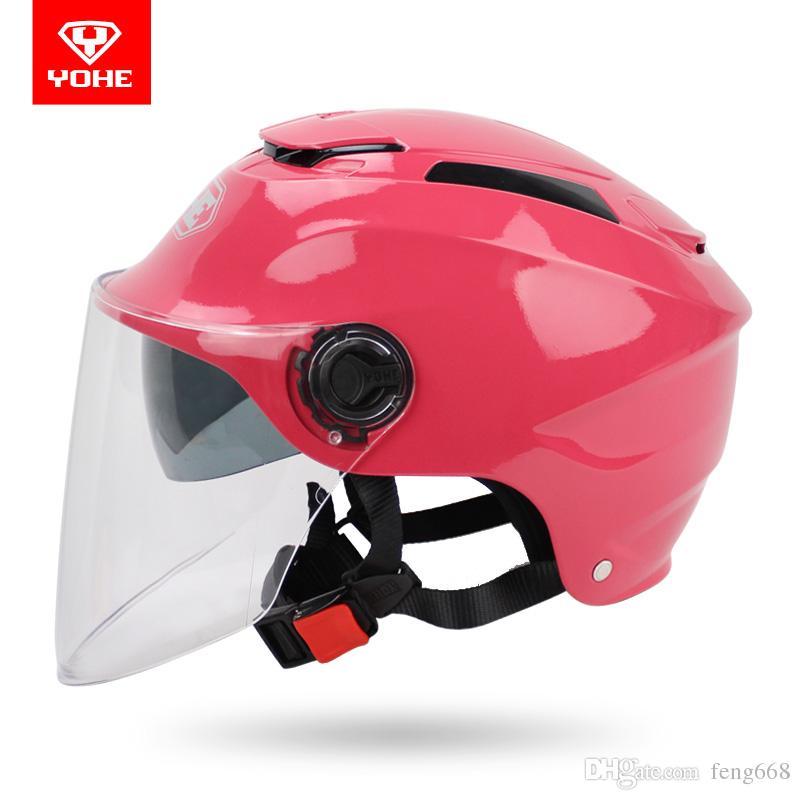 الصيف النساء الرجال yohe 365 دراجة نارية سكوتر خوذة ، عدسة مزدوجة نصف الوجه YH-365 دراجة كهربائية الخوذ السلامة السائق خوذة