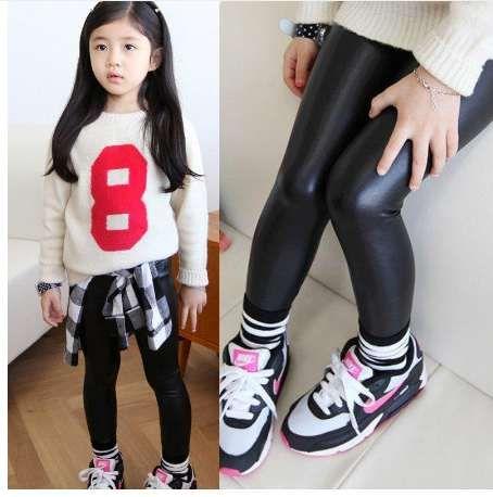 Kinder Baby schwarze Lederhose für Mädchen Kinder Leggings Frühling neue koreanische dünne Leggings für 2 3 4 5 6 7 8 9 10 11 12 Jahre alt