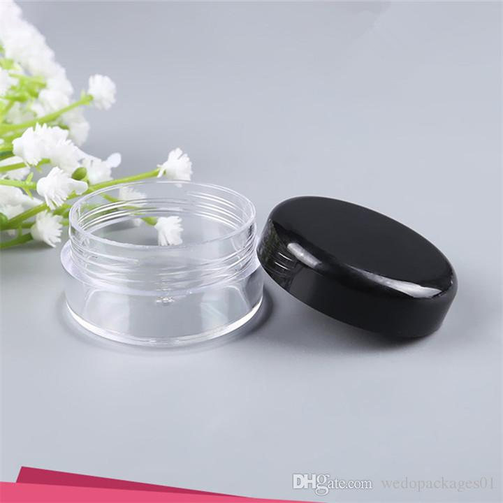 DHgate small size 3g 5g empty plastic pot PS material cosmetic cream clear plastic jar with glossy black lid plastic paper mask container
