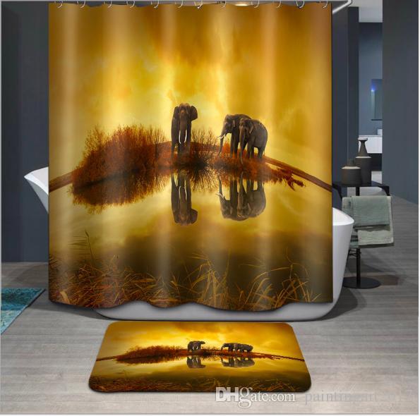 Tecido de poliéster Três Elefantes Cortina de Chuveiro 3D Decoração Do Banheiro À Prova D 'Água Cortinas De Banho Com 12 Ganchos Presente 2018 conjuntos de tapete de chão