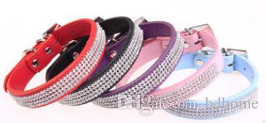 Wholesale  - ペット犬猫の襟はカラフルなラインストーンダイヤモンドPUレザーワニパターンホワイトS / M / L