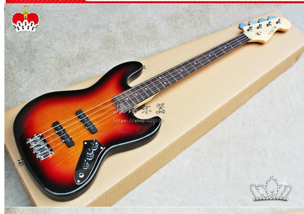 Factory wholesale GYJB-5020 3TS color solid ASH body rosewood fretboard 4 strings active pickup Jazz Bass Guitar, Free shipping