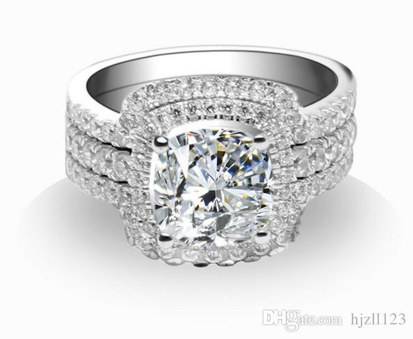 Incrível Designer 3 Anéis em Um Conjunto 3ct Princesa Corte Anel De Diamante Sintético Conjunto de Noivado de Prata Esterlina de Ouro Branco Banhado A Jóia Do Casamento