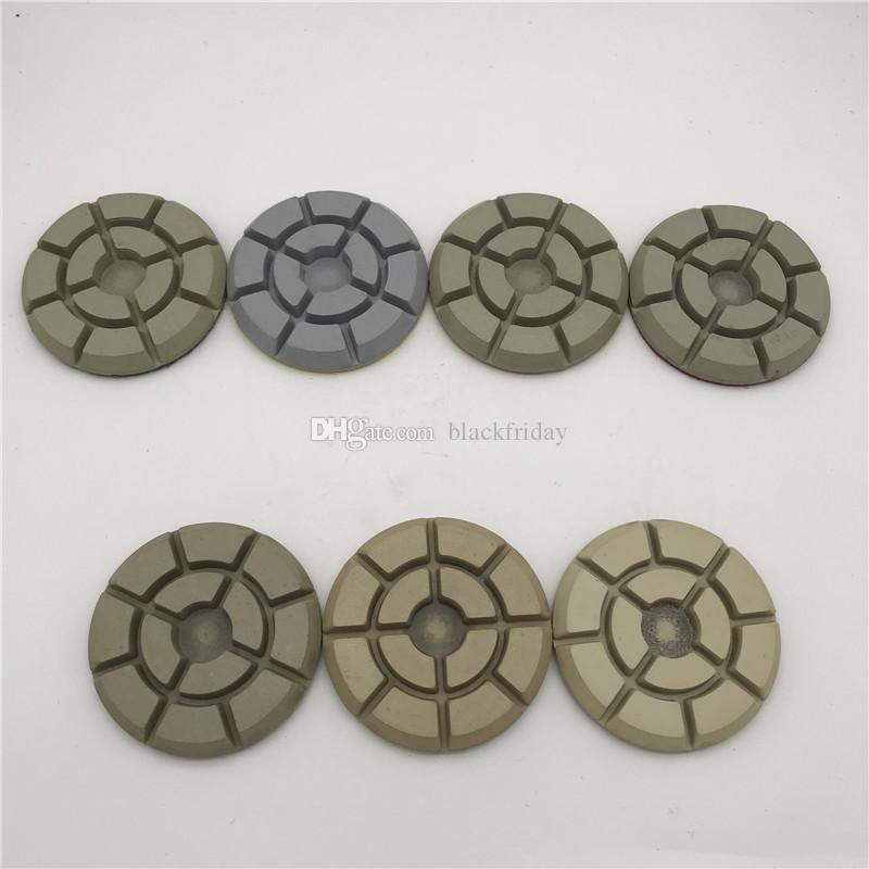 Алмазный пол полировальный диск 4 дюйма (100 мм) для мрамора, бетона, гранита, камня, шлифовальной машины, диска, смолы, полировальный диск, толщина 10 мм, 7 шт. / Лот