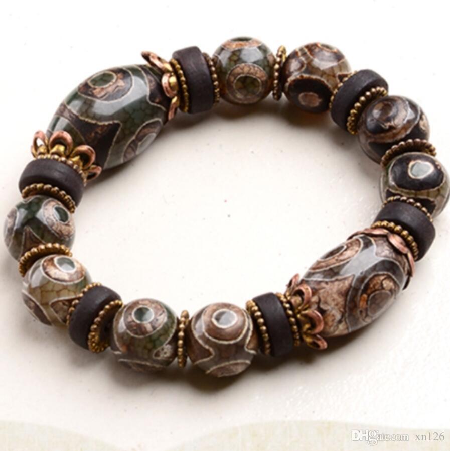 Nine Eyes Dzi Beads First-line Farmacista Calcedonio naturale Agata Maschio Tibet Genuine