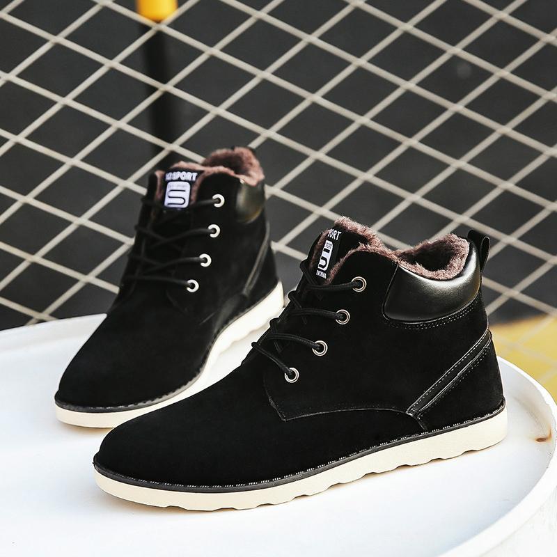Plus Size 47 Winter Boots Men Botas Hombre Lace Up Warm Snow Boots Outdoor High Tops Cotton Antiskid Bottom Fur Shoes Black