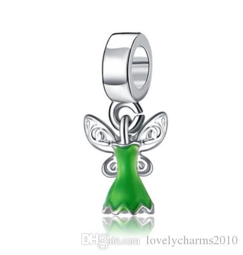 Adatto a Pandora Braccialetti Flower Fairy Pendant Silver Charms Charms Bead Dangle Branelli di fascino per all'ingrosso fai da te gioielli in sterlina europea gioielli