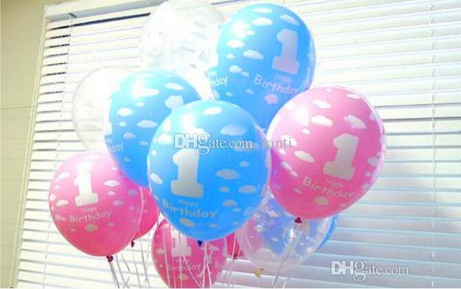 New Balloons for Baby 1st First Birthday Celebration Girl Boy Printed Number 1 Children Birthday Party