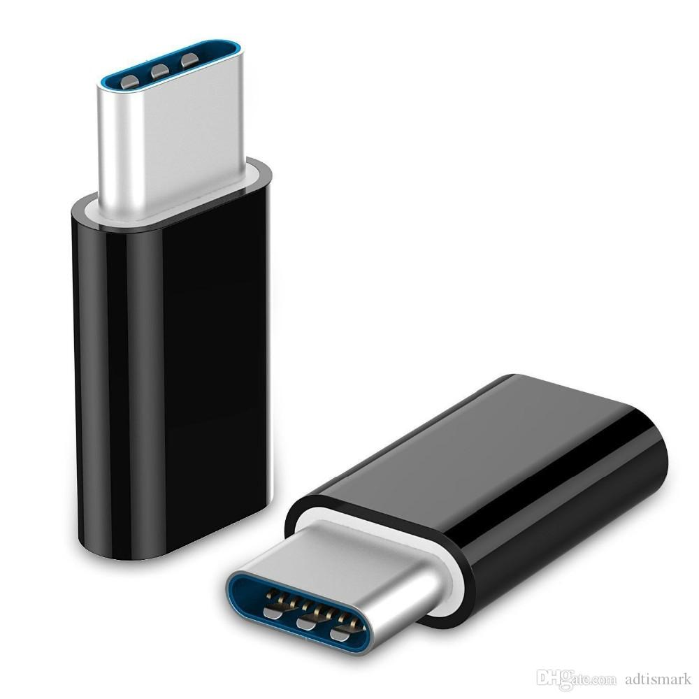 Conector macho universal de tipo C 3.1 USB a convertidor hembra micro USB Adaptador de datos USB-C Tipo C Dispositivo Negro
