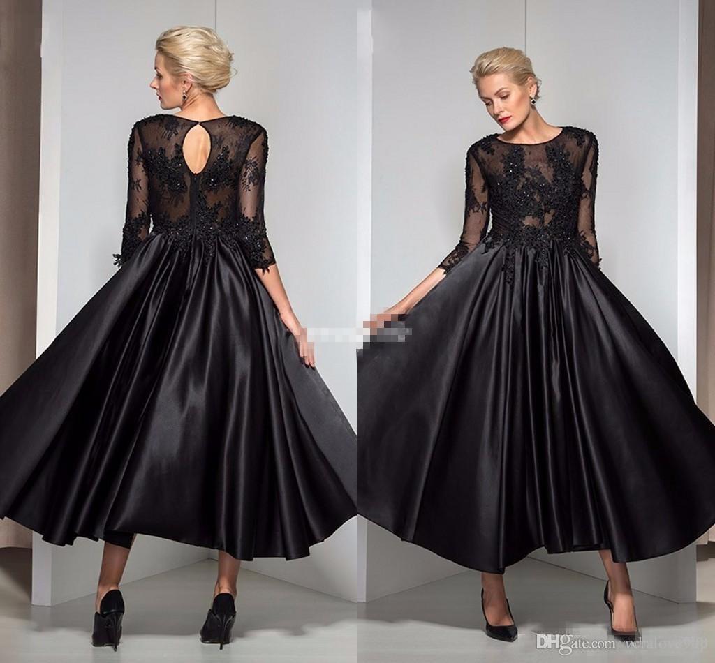 Vintage Tee Länge Abendkleider Schwarz Satin Abendkleid mit 3/4 Ärmelloch Zurück Applique Günstige 2019 Kleider für die Brautmutter