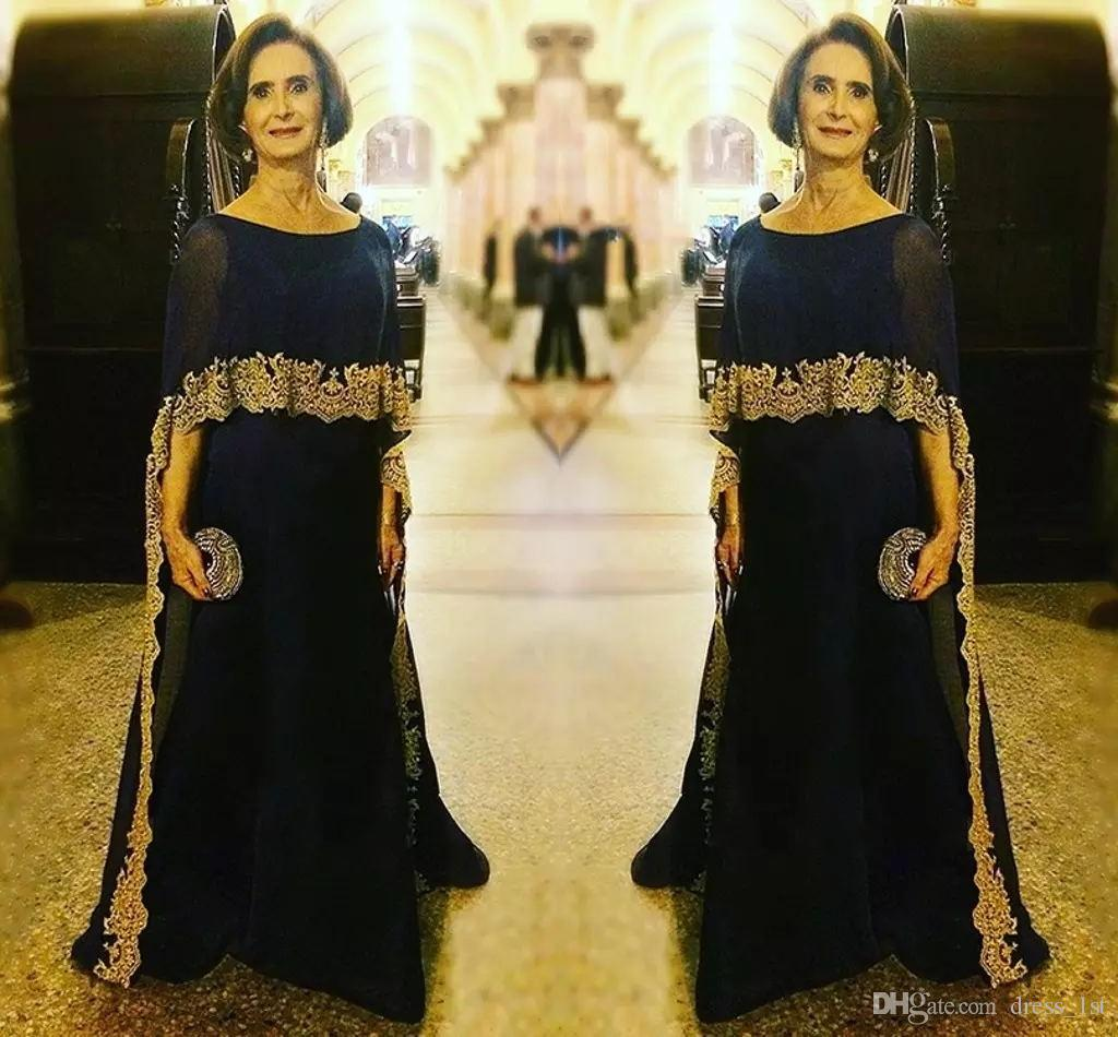 2018 Mother of The Bride Elegant Evening Formal Dresses with Cape Bateau Neck A Line Floor Length Navy Chiffon Gold Lace Hem Formal Gowns