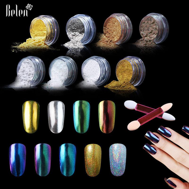 Belen Metalik Ayna Etkisi Holografik Krom Toz Sünger Sopa Tırnak Sanat 1g Ayna Toz Bling Pigment Nail Art Glier