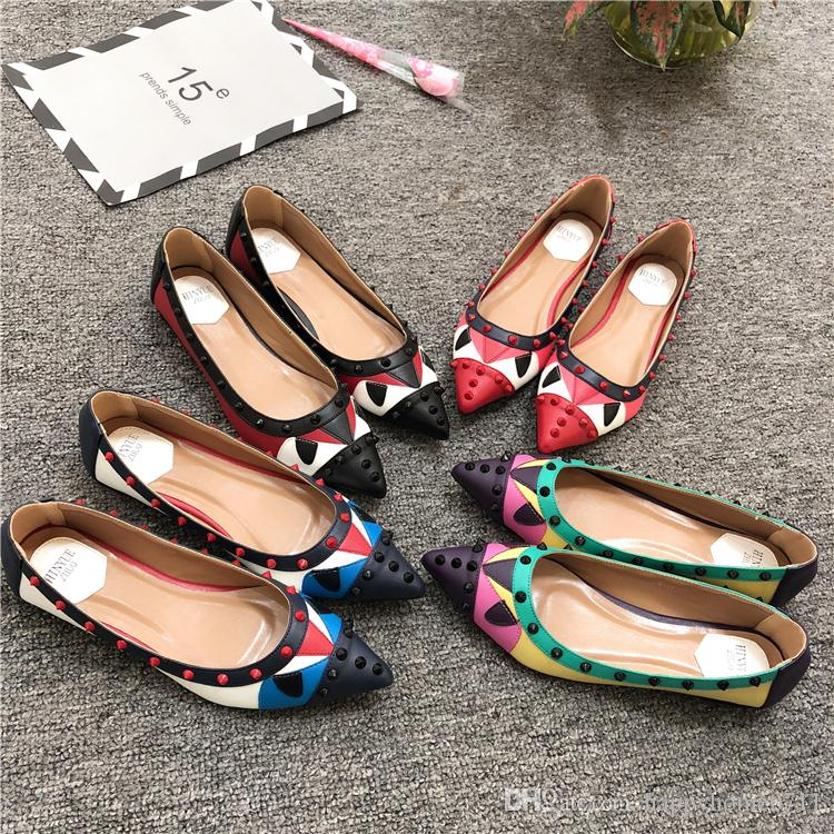 separation shoes more photos 100% top quality 2019 Rivets Decoration Brand Shoes Flats Women Spring Autumn Fashion Womens  Flats Boat Shoes Sexy Ladies Plus Size 11 From Happyhome0711, $58.48   ...