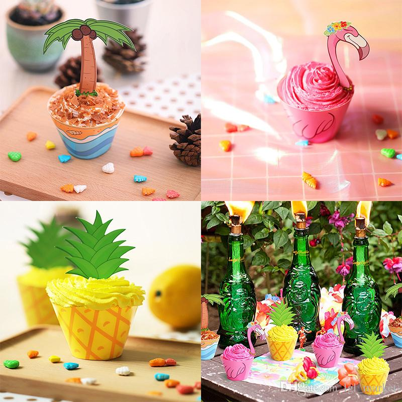 2018 DIY Cupcake Toppers Wrappers Tropical Hawaiian Flamingo/Pineapple/Palm Wedding Birthday Party Supplies Wedding dessert Cake Decorations